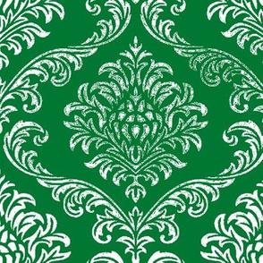 timeless brocade  emerald /white