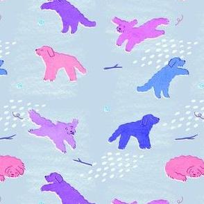 Leaping Labradoodles - Large Doodles (purple/blue)
