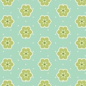 Cream Dots Floral - Victorian Green