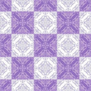 X's and O's, purple and white