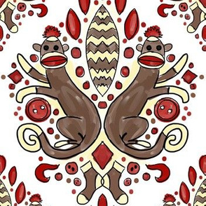 fancy sock monkey damask