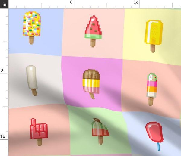 Tissu Au Mètre Multicolore Ancien Ordinateur Pixel Rétro