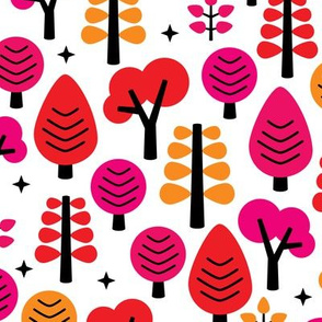 Colorful red woodland trees fun girls forest scandinavian kids print for fashion