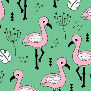 Cute little tropical flamingo birds for girls fun spring summer illustration design green pink garden