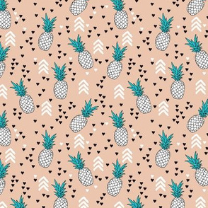 geometric summer pineapple ananas illustration with arrows and hearts gender neutral scandinavian style tropical fruit XS