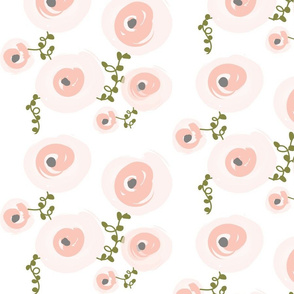 Pale Watercolor Floral - Peach, Blush, Grey, Olive Floral