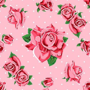 Roses and polka dots on pink