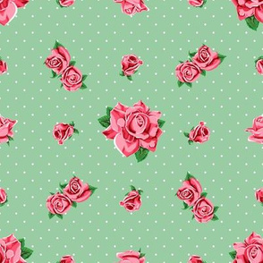 Roses and polka dots on green background, version 2