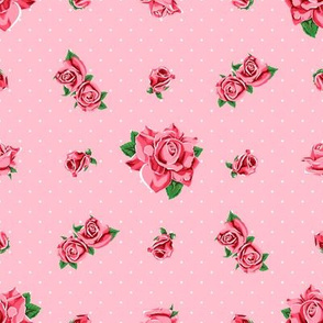 Roses and polka dots on pink background, version 2