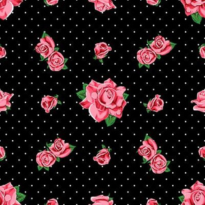 Roses and polka dots on black background, version 2