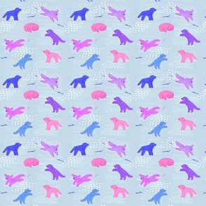 Leaping Labradoodles - Small Doodles (purple/blue)