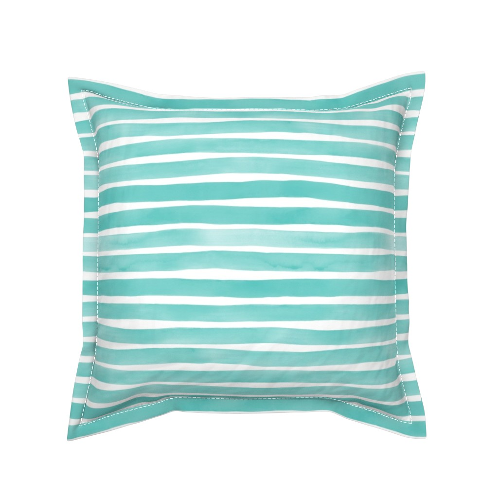 Serama Throw Pillow featuring Watercolor Stripes M+M Aqua by Friztin by friztin