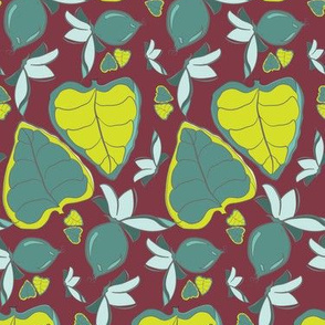 Tropical Leaves LG on Maroon_Miss Chiff Designs