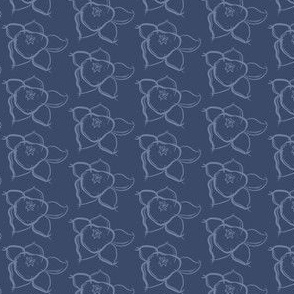 16-02w Floral Dark Blue Periwinkle Gray Grey Flower Simple Traditional _Miss Chiff Designs