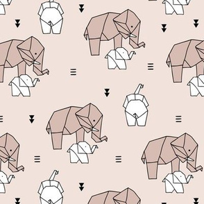 Sweet origami paper art safari theme elephants mother and baby gender neutral beige