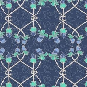 16-02v Periwinkle Floral Grey gray trellis jade sea green purple _Miss Chiff Designs