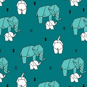 Sweet origami paper art safari theme elephants mother and baby gender neutral teal blue