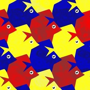 Tesselating Fish Fractal Primary Colors
