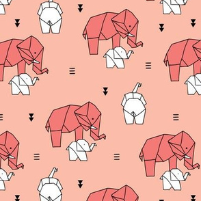 Sweet origami paper art safari theme elephants mother and baby gender neutral orange coral