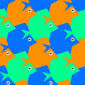 Tesselating Fish Blue Orange Mint