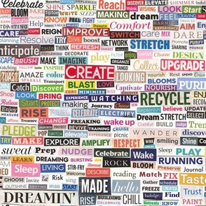 Ransom Note (Full-Color Verbs) || magazine cut paper collage words phrases typography action