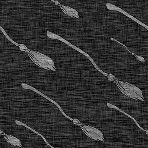 Flying Broomsticks - Lt Grey on Charcoal - Wizards and witches