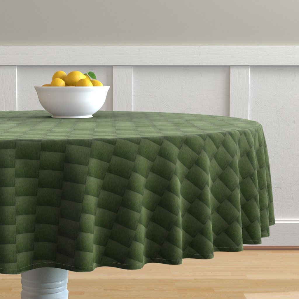 Malay Round Tablecloth featuring Grasslands Checkerboard (Ref. 3681) by rhondadesigns