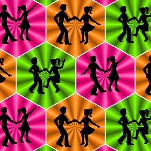 04991755 : dance party : silhouettes in hexagons