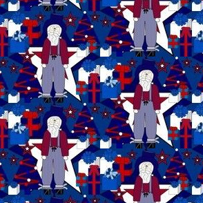 Patriotic Uncle Sam, Americana, 4th of July, Red, White & Blue Trees, Stars and Presents Fabric #12