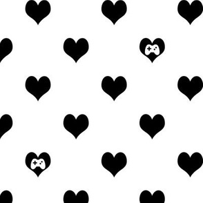 Gaming Hearts in Black and White