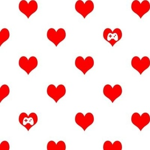 Gaming Hearts in White and Red