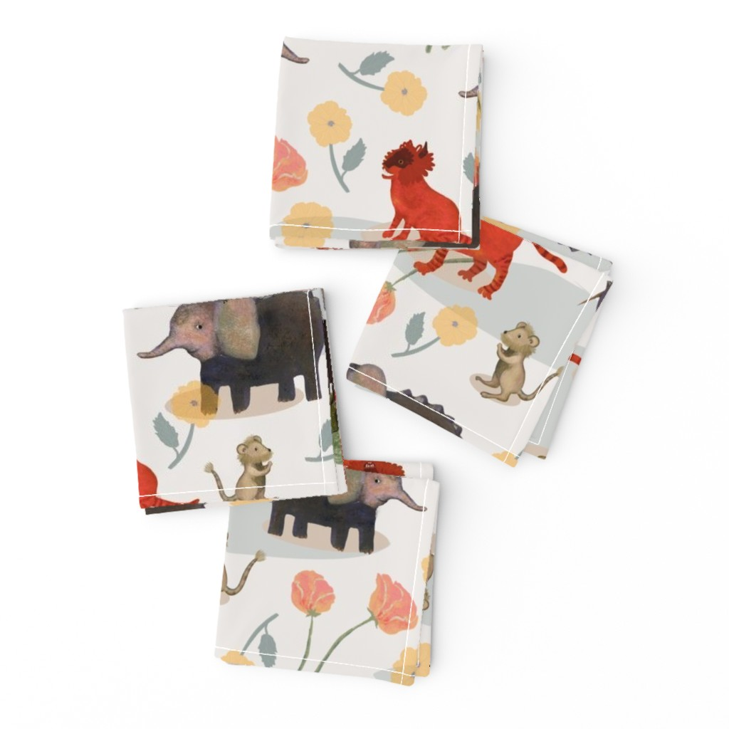 Frizzle Cocktail Napkins featuring Imaginary Animals by space_tempo_design
