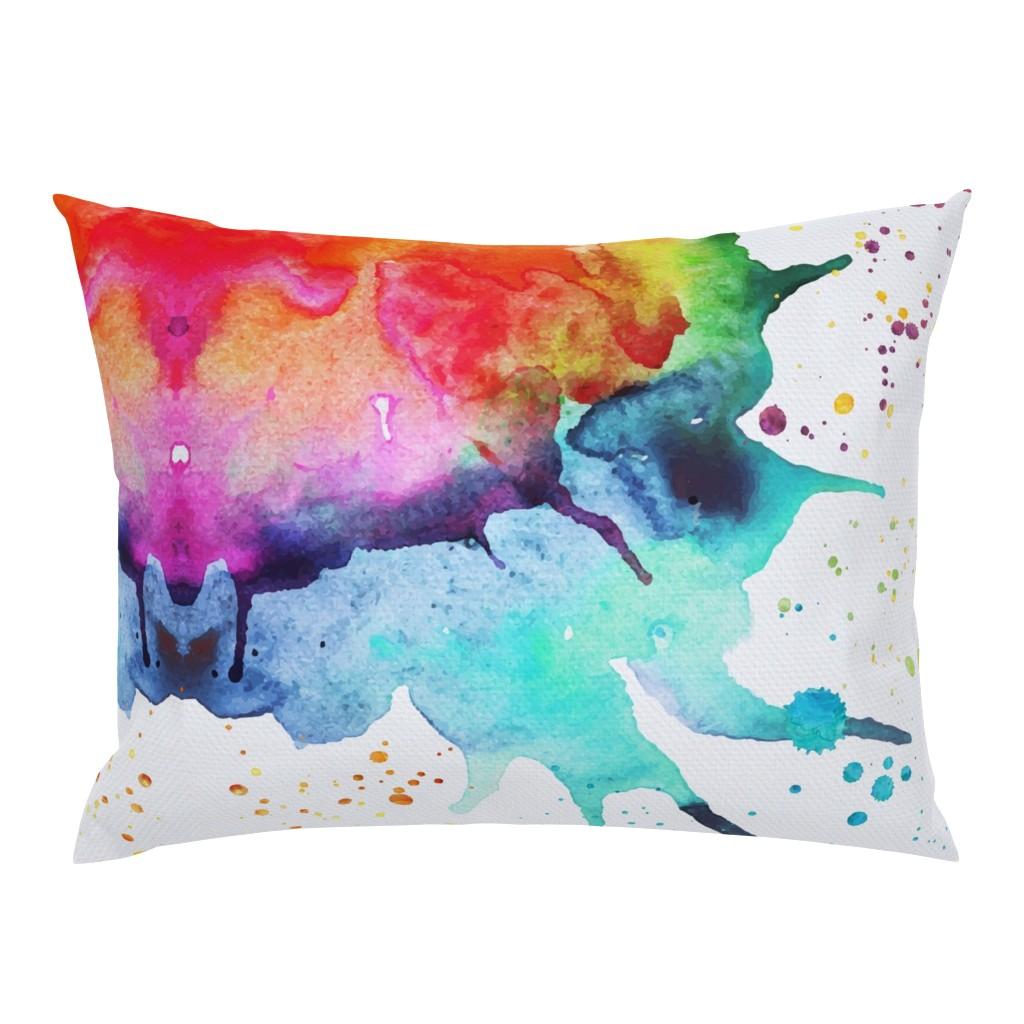 Campine Pillow Sham featuring Abstract Watercolor Splash - Rainbow Chakras by erinmorris