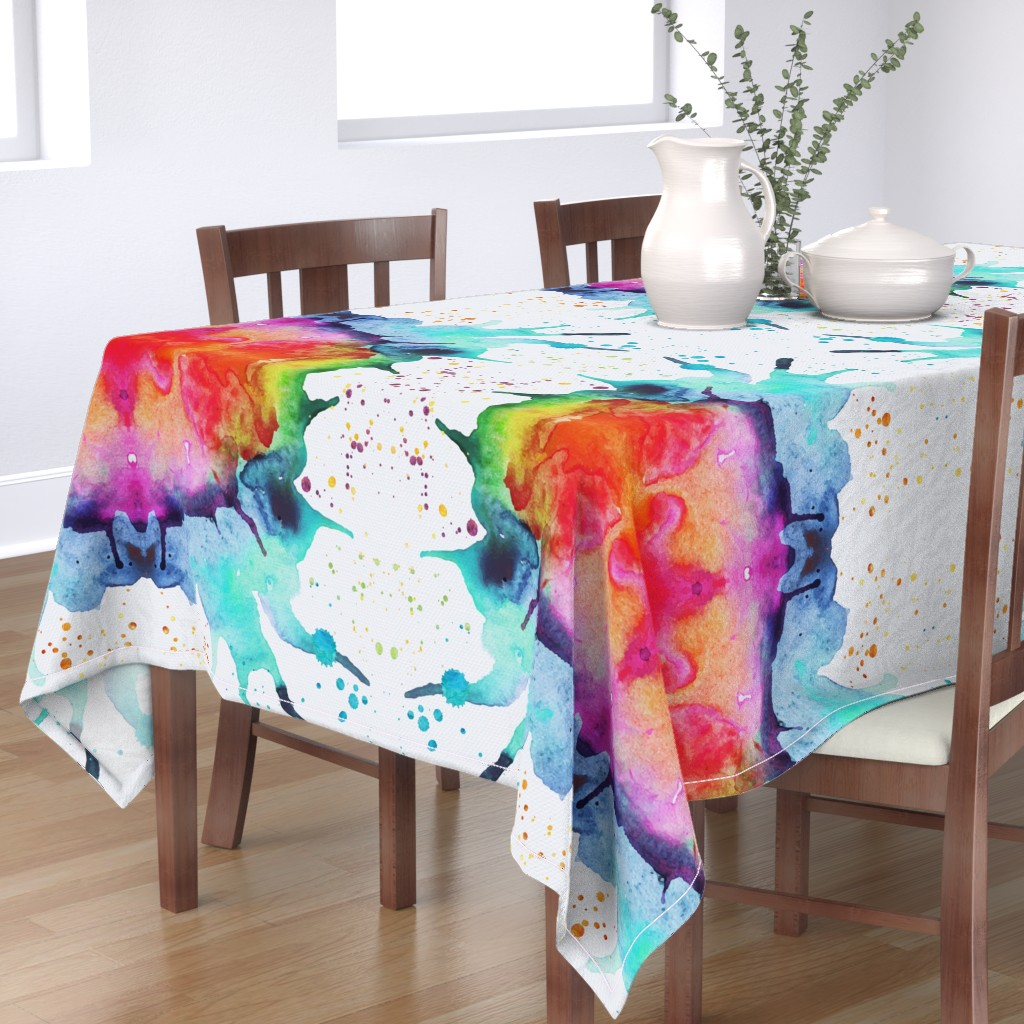 Bantam Rectangular Tablecloth featuring Abstract Watercolor Splash - Rainbow Chakras by erinmorris