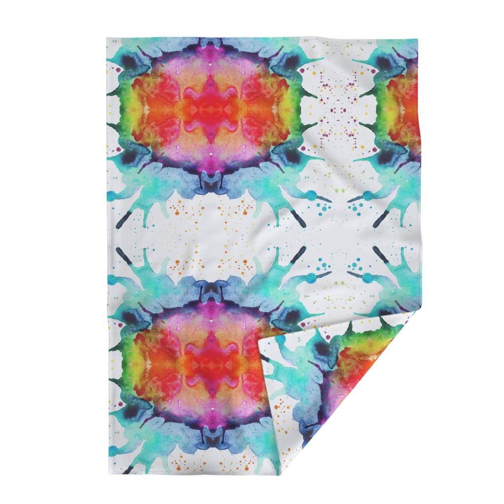 Lakenvelder Throw Blanket featuring Abstract Watercolor Splash - Rainbow Chakras by erinmorris