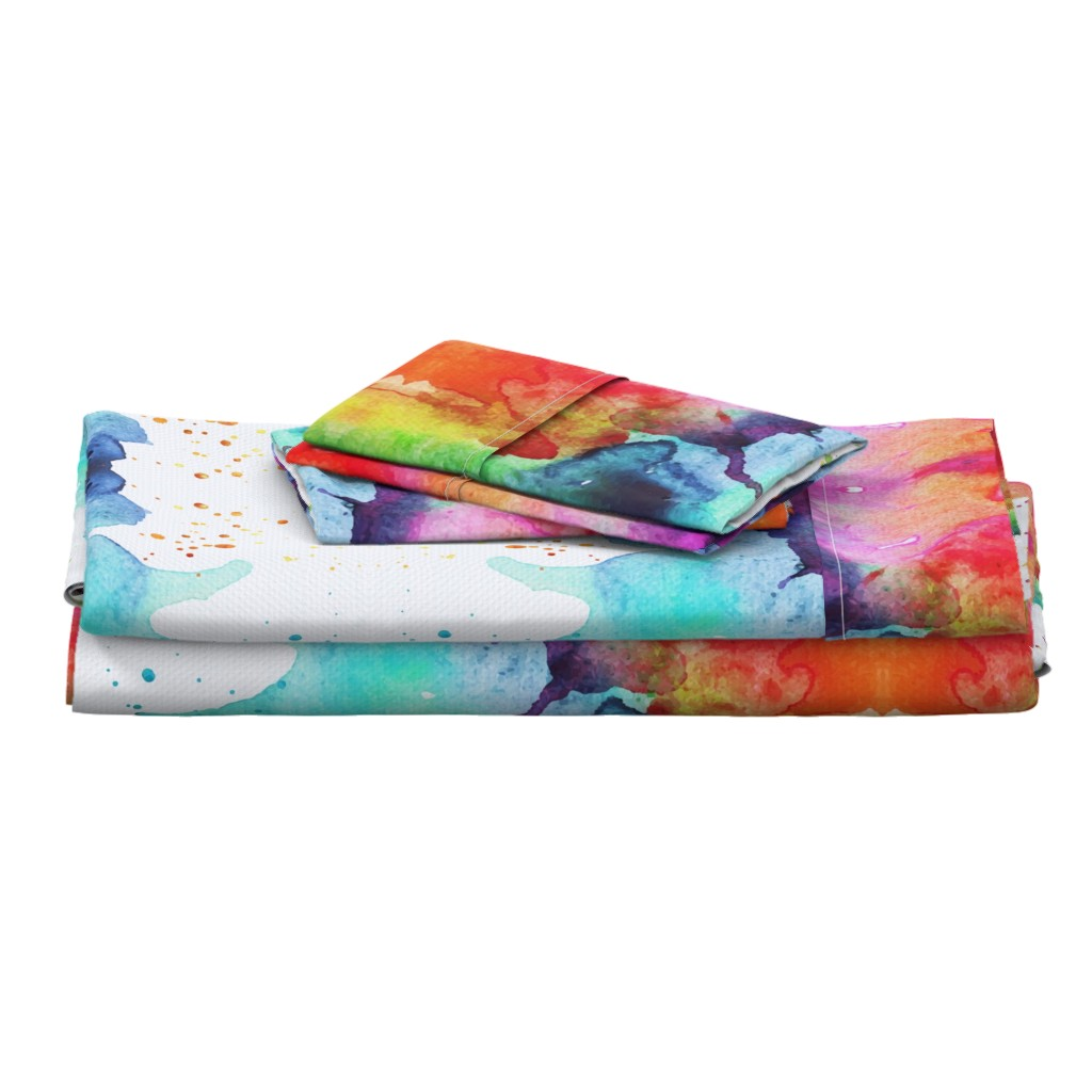 Langshan Full Bed Set featuring Abstract Watercolor Splash - Rainbow Chakras by erinmorris