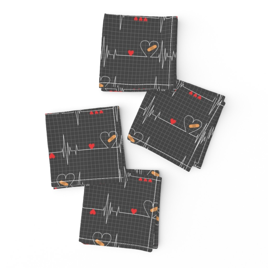 Frizzle Cocktail Napkins featuring Heart Health Awareness - Black by ohdarkthirty