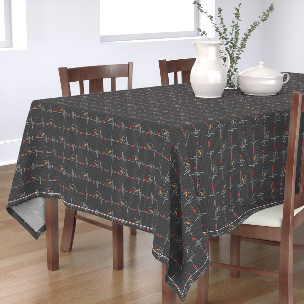 Bantam Rectangular Tablecloth featuring Heart Health Awareness - Black by ohdarkthirty