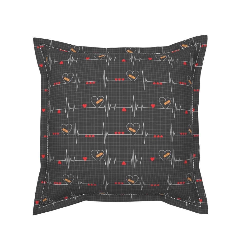 Serama Throw Pillow featuring Heart Health Awareness - Black by ohdarkthirty