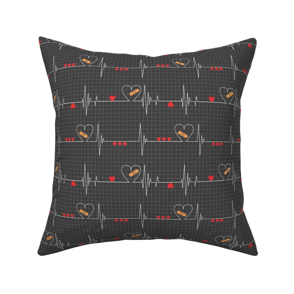 Catalan Throw Pillow featuring Heart Health Awareness - Black by ohdarkthirty