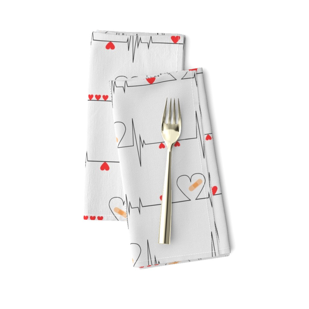 Amarela Dinner Napkins featuring Heart Health Awareness - Light Gray (large) by ohdarkthirty