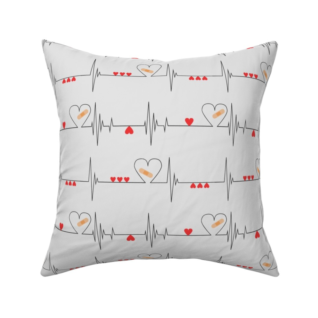 Catalan Throw Pillow featuring Heart Health Awareness - Light Gray (large) by ohdarkthirty