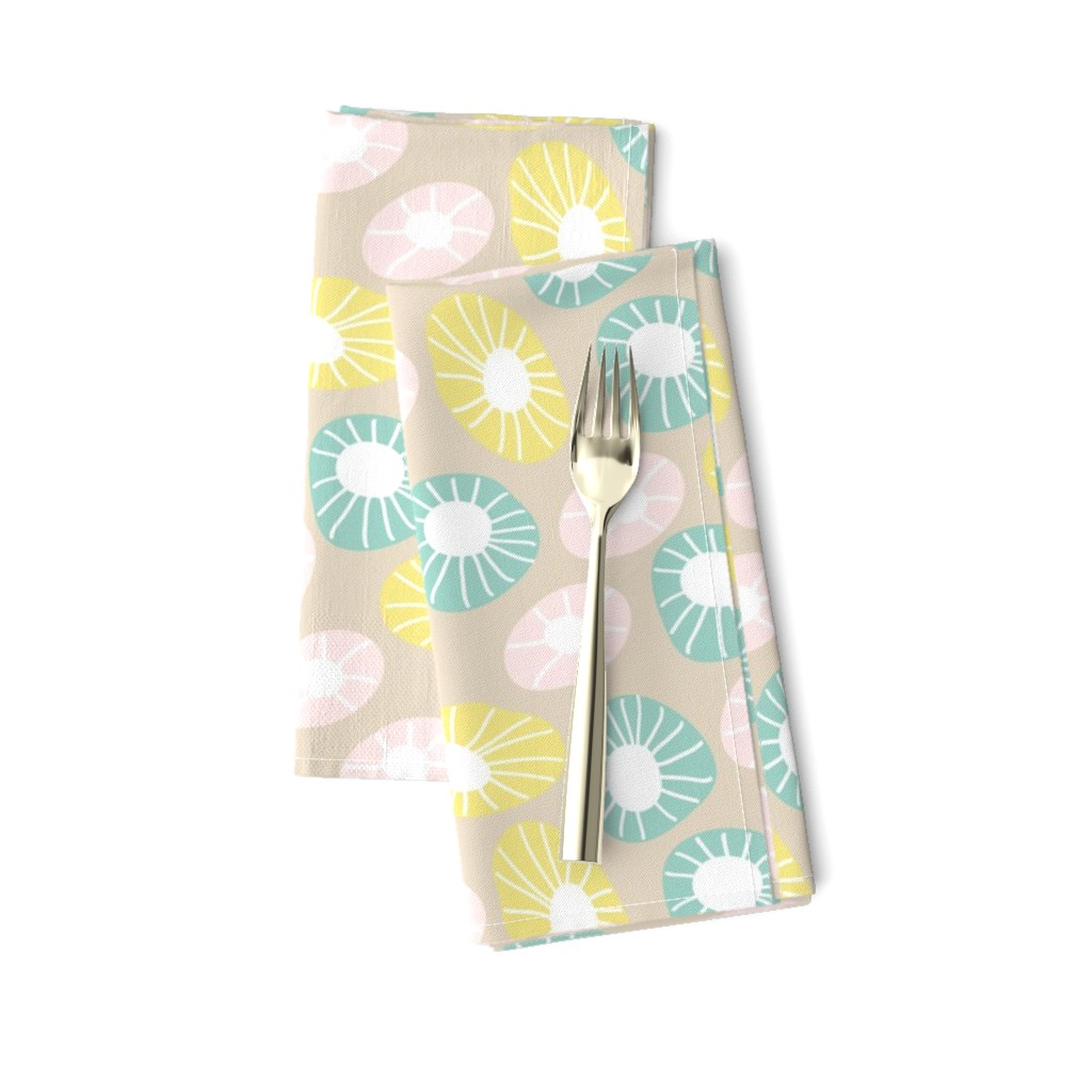 Amarela Dinner Napkins featuring Round and Round by studiojulieann