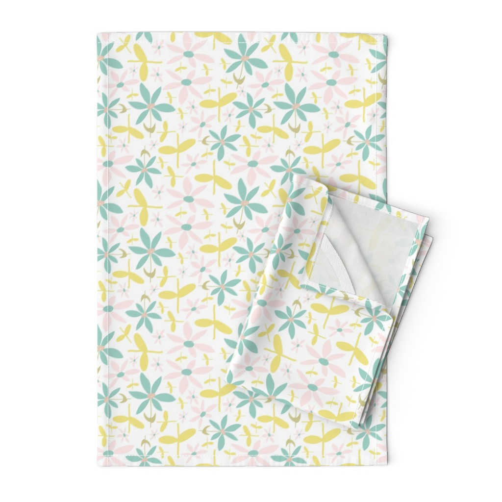 Orpington Tea Towels featuring Soft Floral Maze by studiojulieann