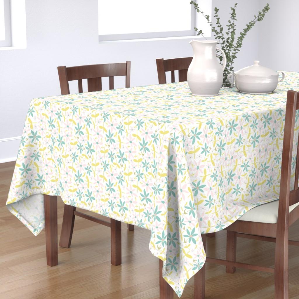 Bantam Rectangular Tablecloth featuring Soft Floral Maze by studiojulieann