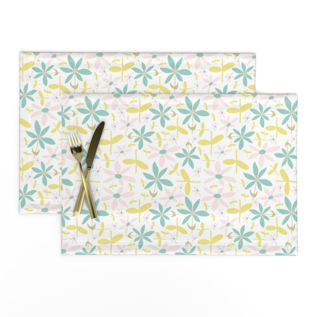 Lamona Cloth Placemats featuring Soft Floral Maze by studiojulieann