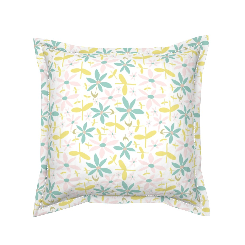 Serama Throw Pillow featuring Soft Floral Maze by studiojulieann