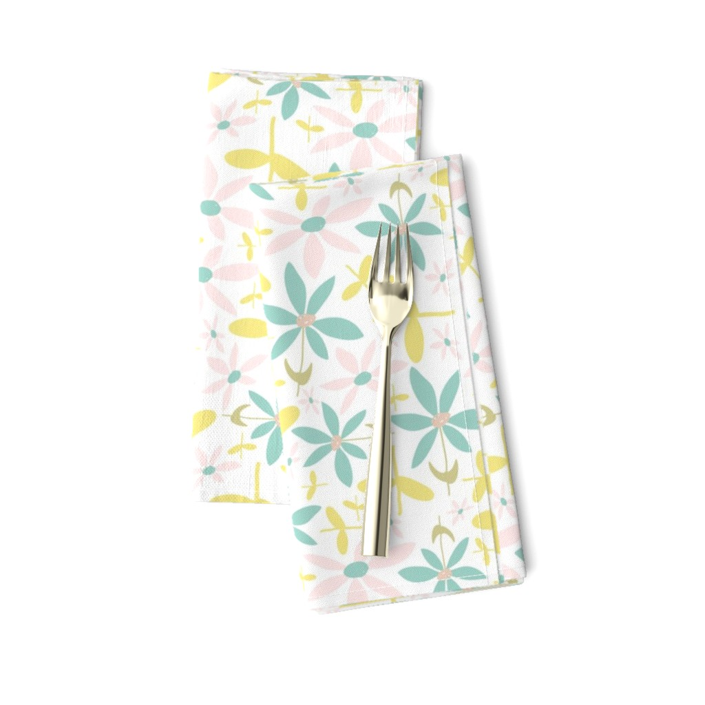 Amarela Dinner Napkins featuring Soft Floral Maze by studiojulieann