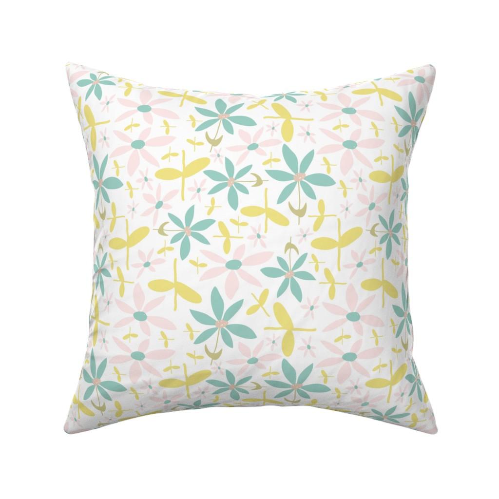Catalan Throw Pillow featuring Soft Floral Maze by studiojulieann