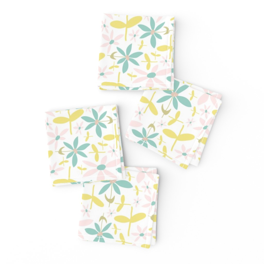 Frizzle Cocktail Napkins featuring Soft Floral Maze by studiojulieann